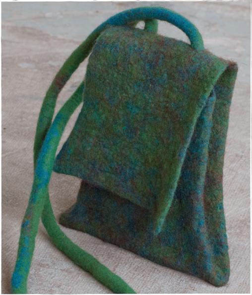 blauw groen schouder tasje van vilt