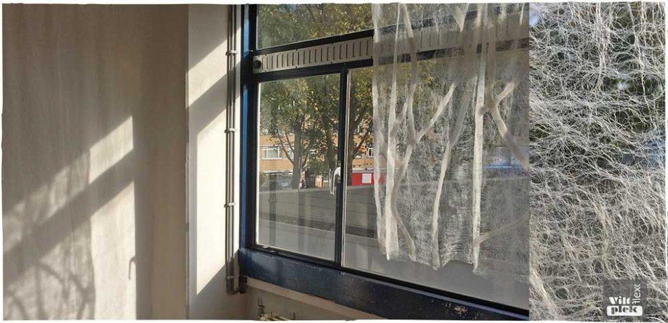 Een vitrage vilten van uitsluitend lontwol en naaldvlies, het is mogelijk. Zie hier een eerste proef die ik heb gemaakt. Anneke Zwolsman-Westing Viltflexplek Den Haag